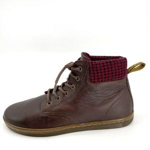 Dr. Martens Maelly Brown Red Houndstooth 11 Boot